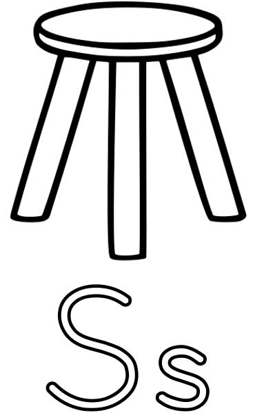 Stool Coloring Page - Printable Worksheets for Kids